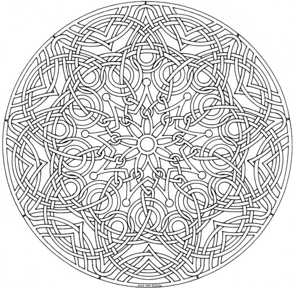 Mandala madness celtic mandala to color for Mandala design coloring pages
