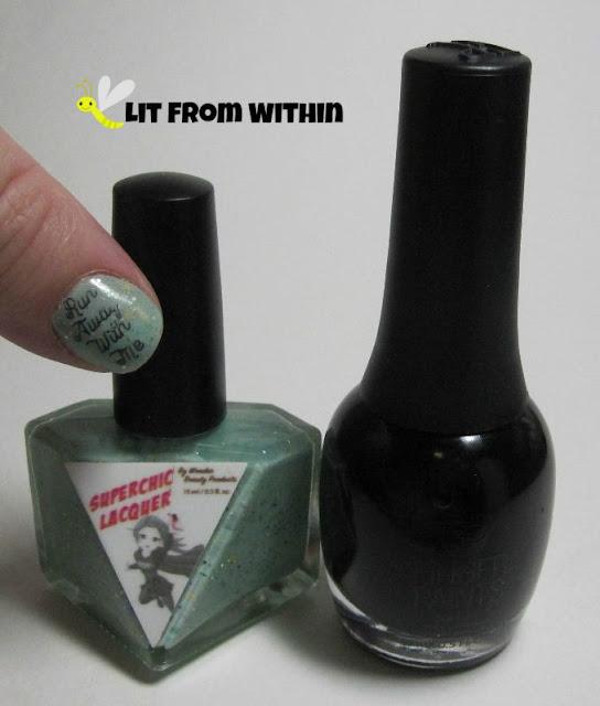 Bottle shot:  SuperChic Lacquer Aphrodisiac, and Finger Paints Patent Leather Black.