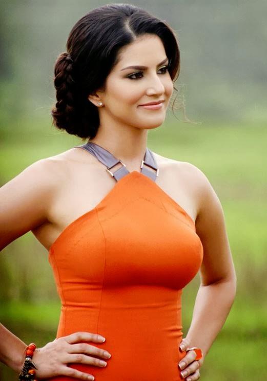 Sunny Leone in orange dress