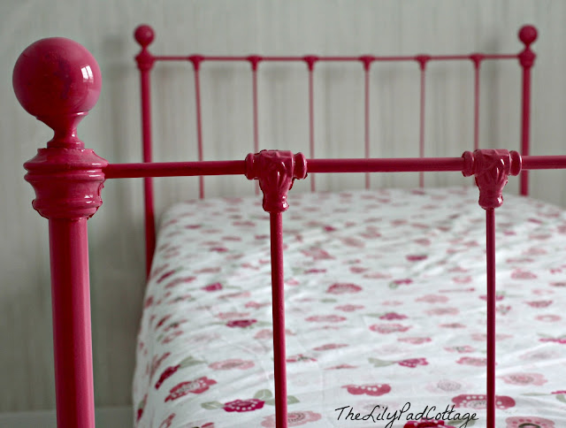 pink iron bed makeover