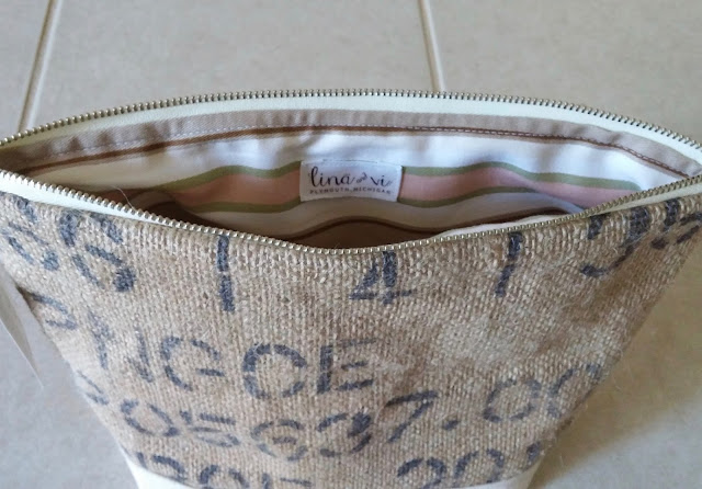 Burlap makeup bag - lina and vi - plymouth MI