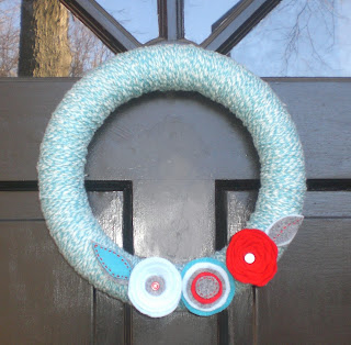 Felt and Yarn Flower Wreath