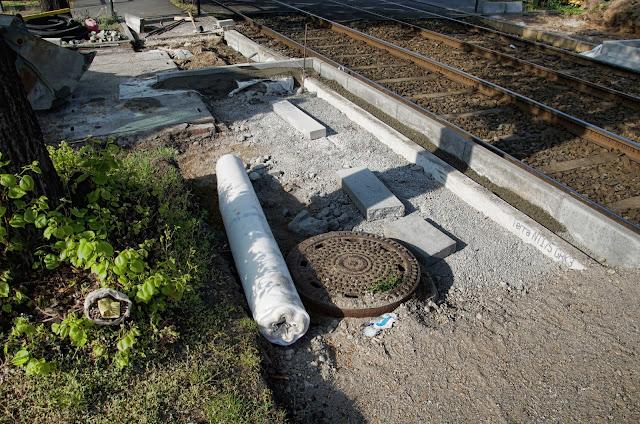 Baustelle Ersatzhaltestelle M4, Kanalarbeiten, Greifswalder Straße 168, 10409 Berlin, 22.04.2014