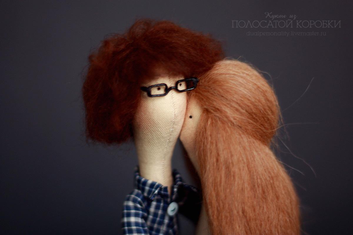 Портретные текстильные куклы — пара, миниатюрные очки