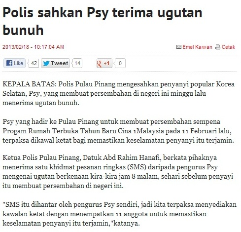 Penyanyi Gangnam Style, PSY Terima Ugutan Bunuh