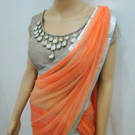 PLAIN BORDER ORANGE COLOUR SAREE