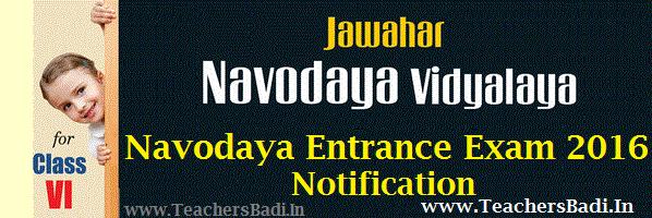 Navodaya Entrance Exam 2016,JNVS Selection Test, NVS Entrance Test