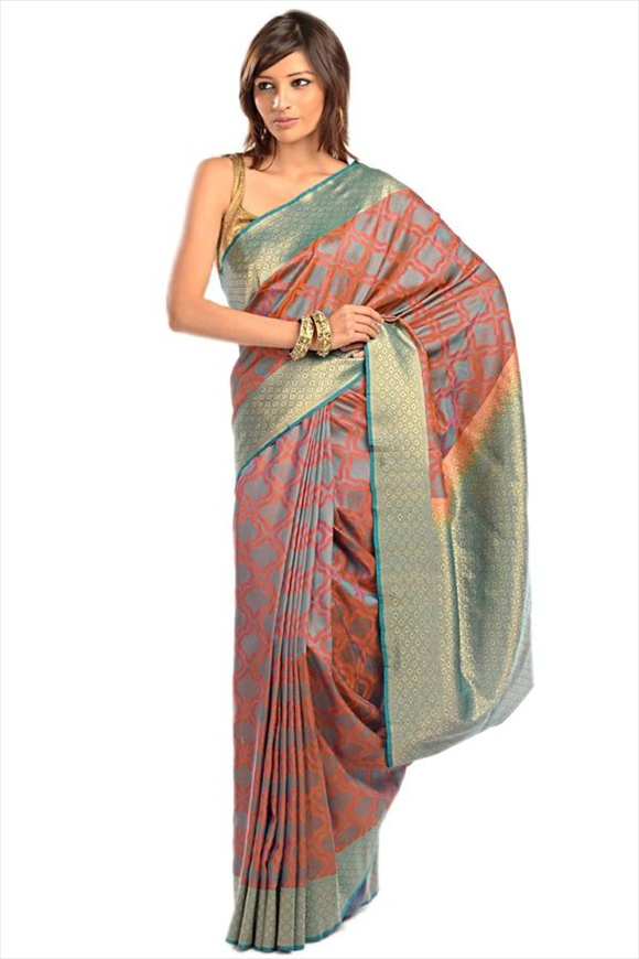 Tropical Green Kattan Silk Banarasi Saree