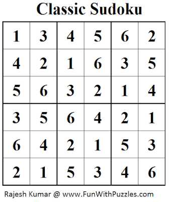 Classic Sudoku (Mini Sudoku Series #45) Solution