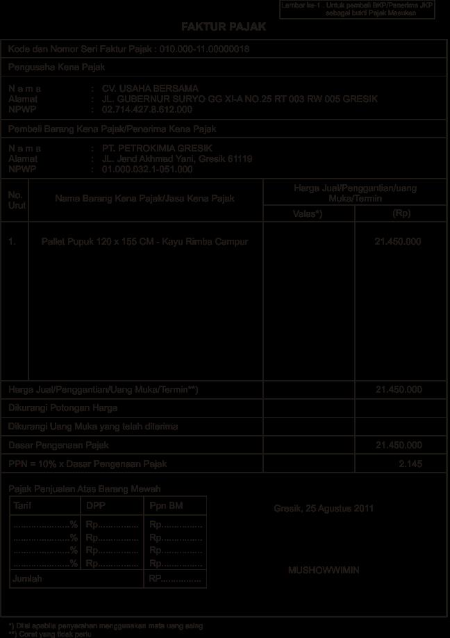 Draft Pembuatan Faktur Pajak Tax Invoice Excel Pengadaan