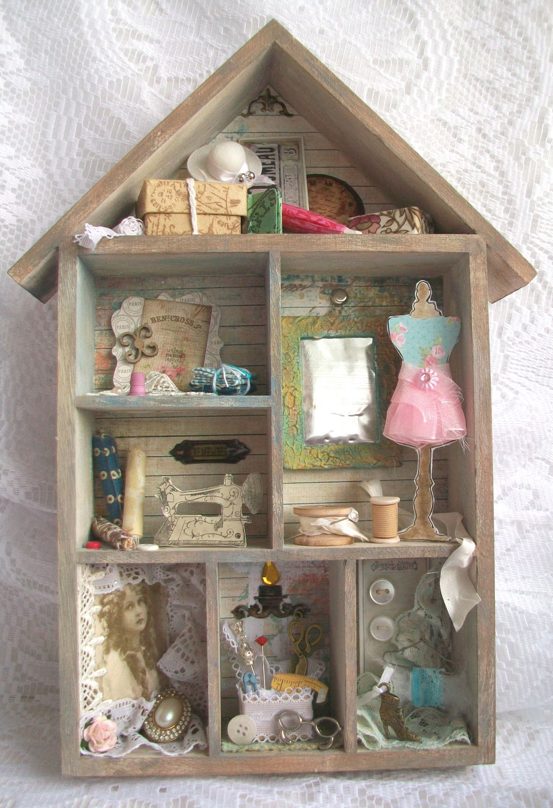 Viv 39 s visuals a visit to grandma 39 s house shabby chic for Wedding dress shadow box for sale