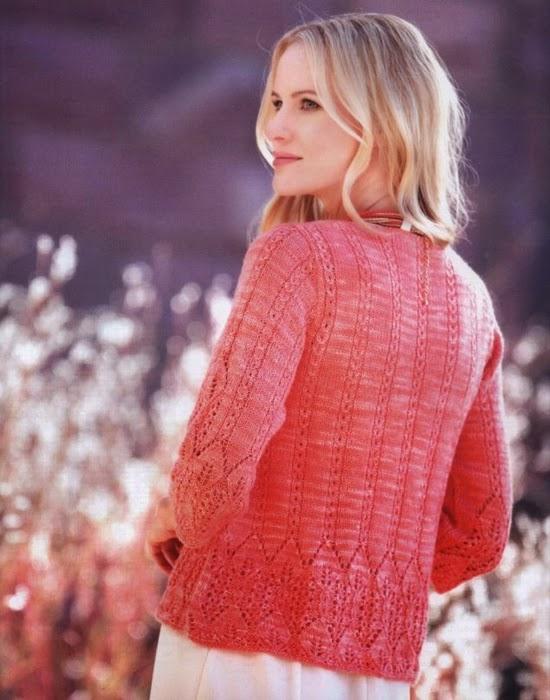 Saco de dama tejido con dos agujas con terminación al crochet - con diagramas y patrones