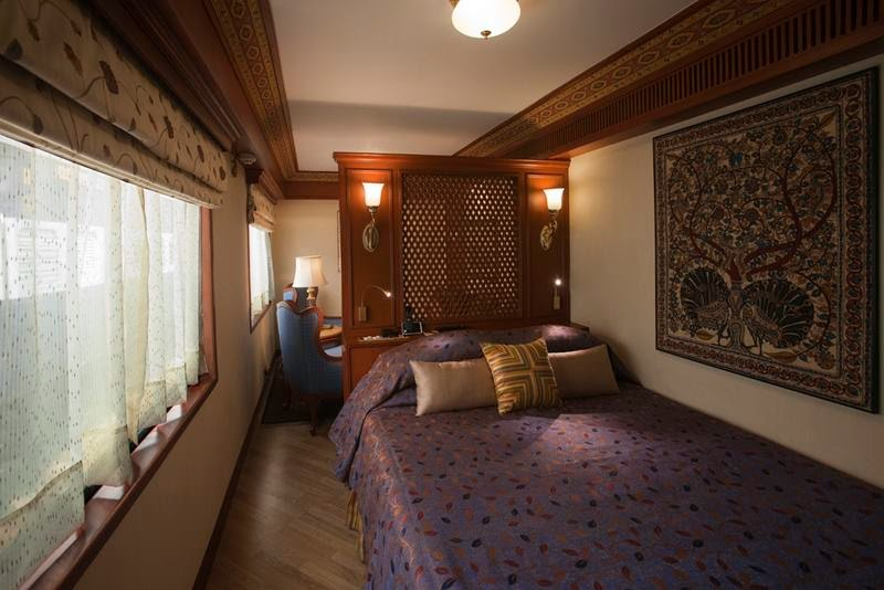Bedroom with Double Bed on a Luxury Train.