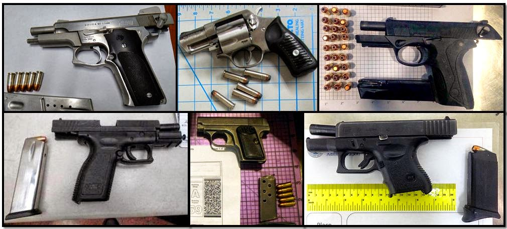 Firearms discovered at: (T/B - L/R) MEM, PDX, AEX, DEN, SMF, TUL