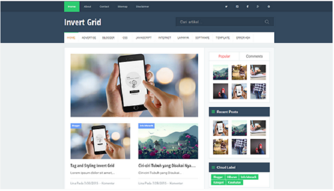 Template Invert Grid Full Responsive dan Seo Friendly by arlina
