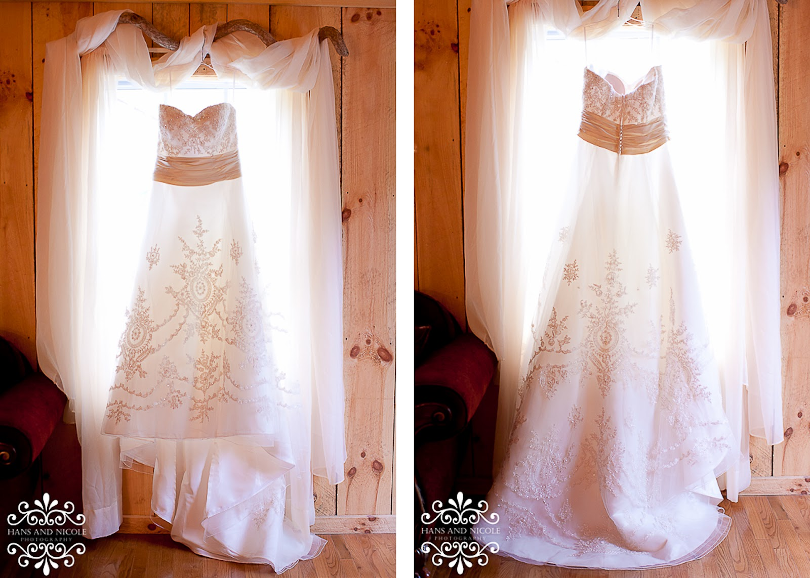 photo of wedding dress in a window at Shade Trees and Evergreens
