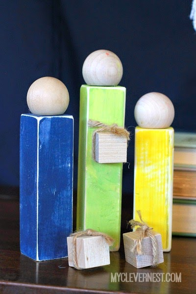 This is my favorite Nativity of all time, totally digging the rustic look and the pops of color! Shown in grays too #woodennativity #diynativity #clevernest