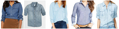 New York & Company 7th Avenue Design Studio Madison Chambray Shirt $25.00 (regular $44.95)  J. Crew Factory Classic Chambry Shirt $34.00 (regular $68.00)  Maison Jules Long Sleeve Chambray Shirt $44.99 (regular $59.50)  Tommy Hilfiger Chambray Button Down Shirt $49.50  INC Topstitched Chambray Shirt $59.99 (regular $79.50)
