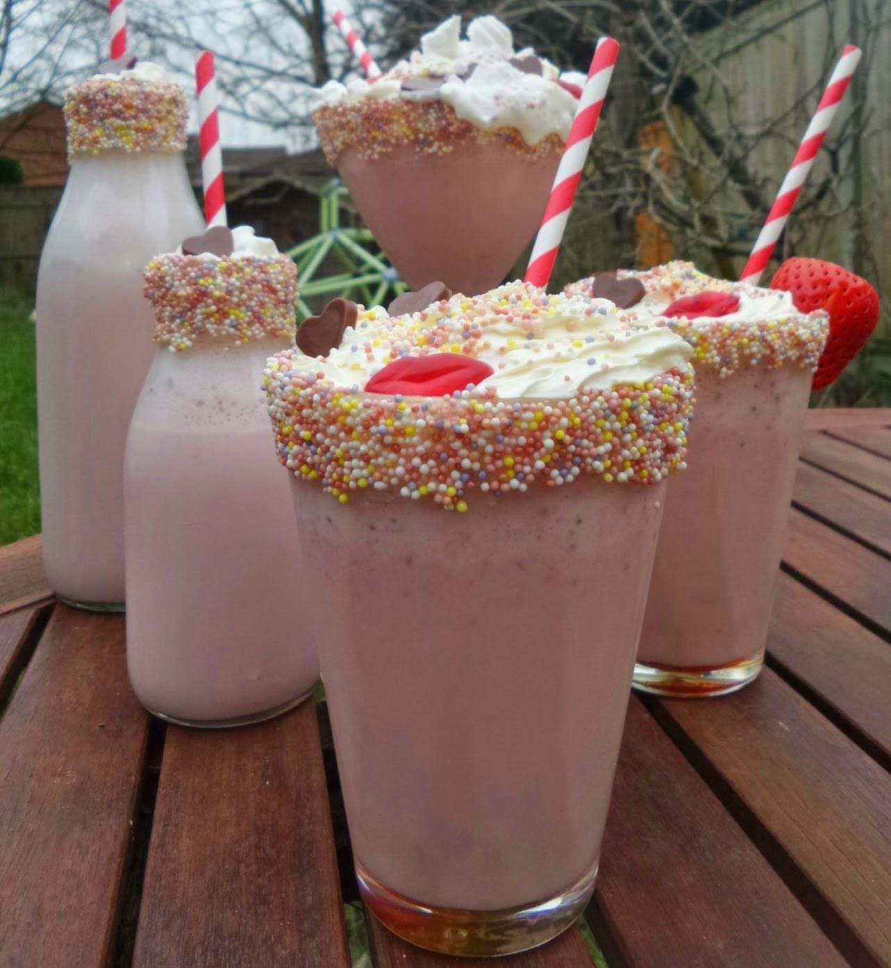 Valentine's Strawberry Milkshakes with Sugar Strand Rimmed Glasses