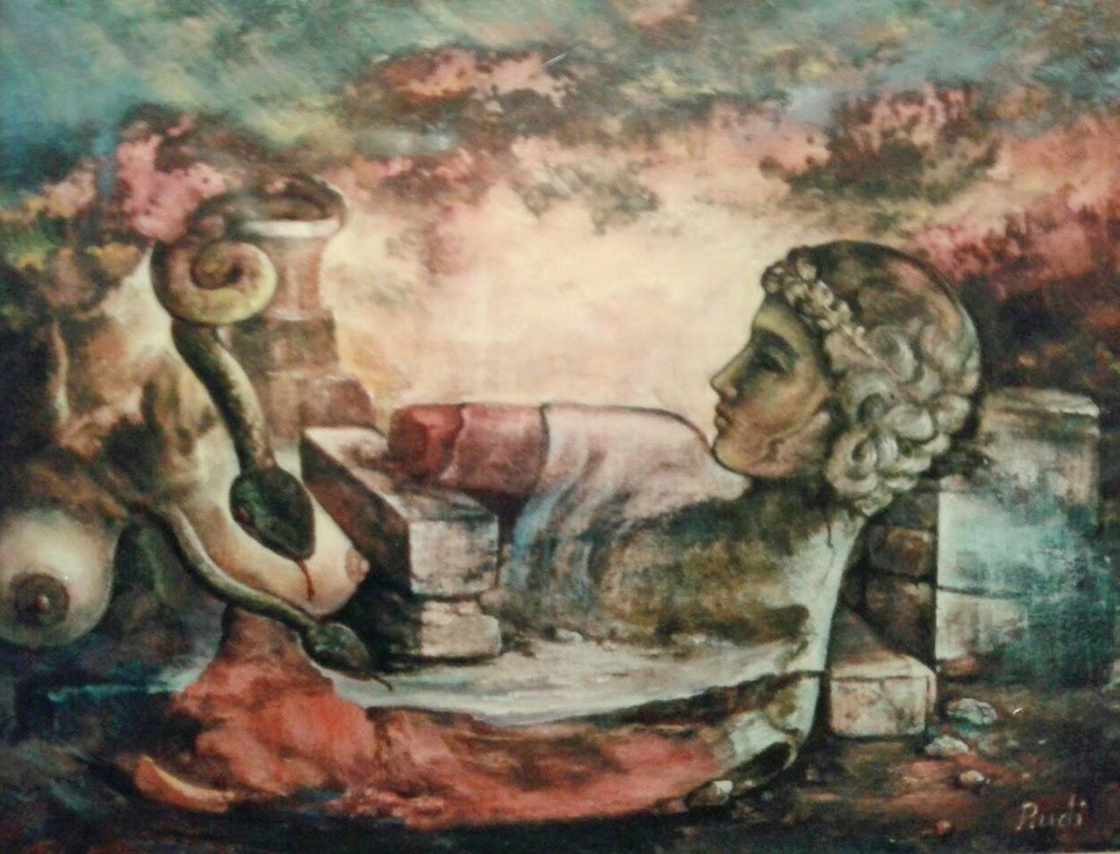 Cuadro óleo surrealista de Rudi estatua griega derrumbe serpiente