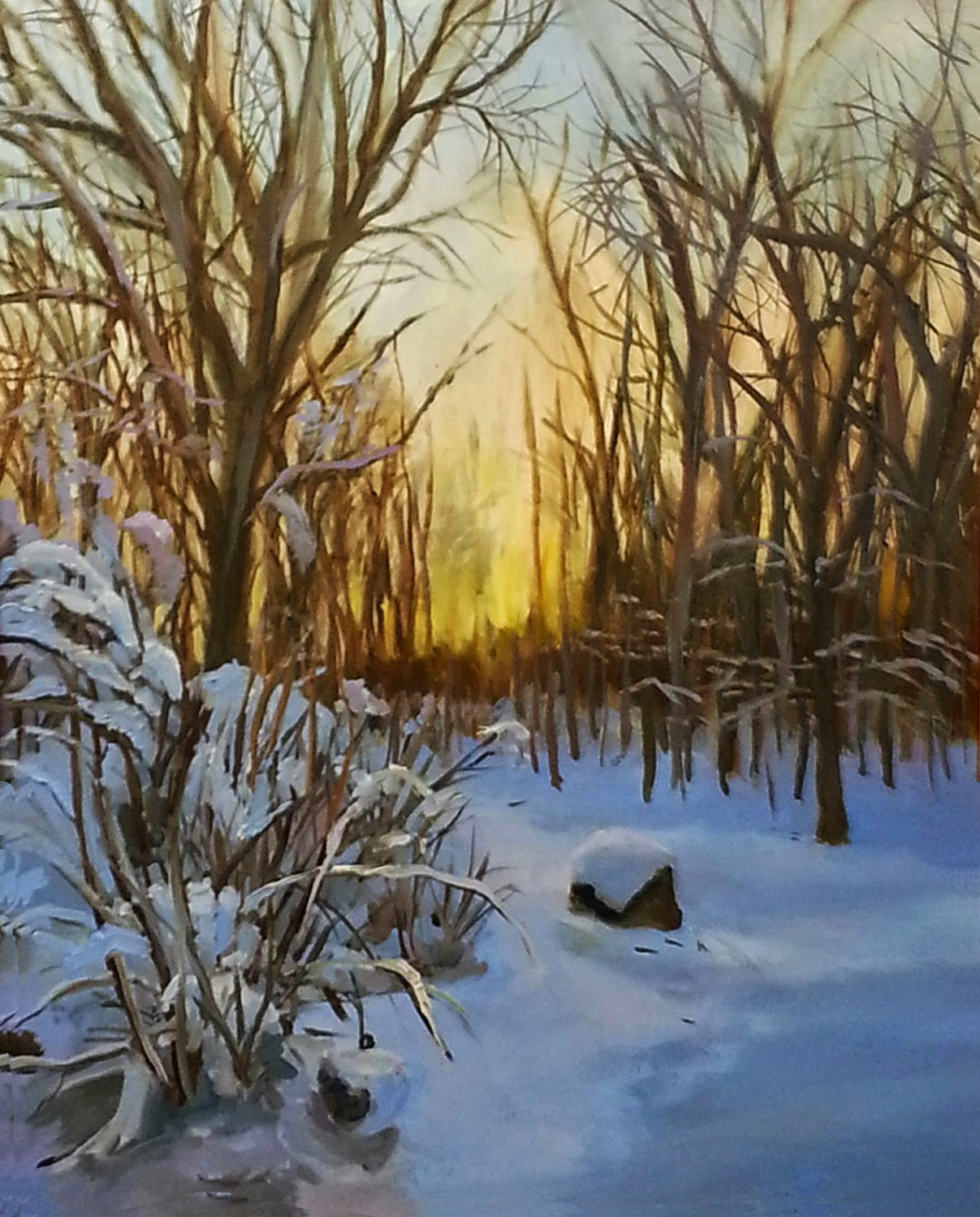 View of sunset through the trees on Thanksgiving Day painted in oils