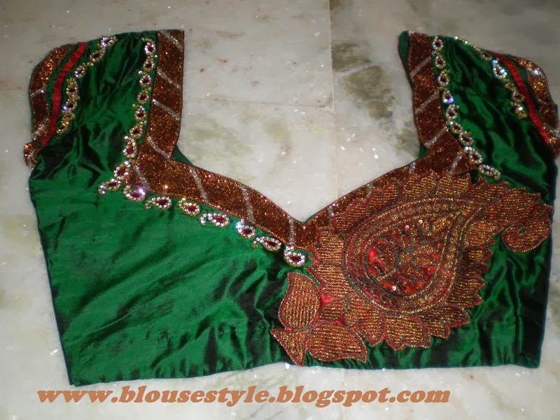 Latest 2014 Kundan Zardosi Spring And Beads Work Blouse Designs