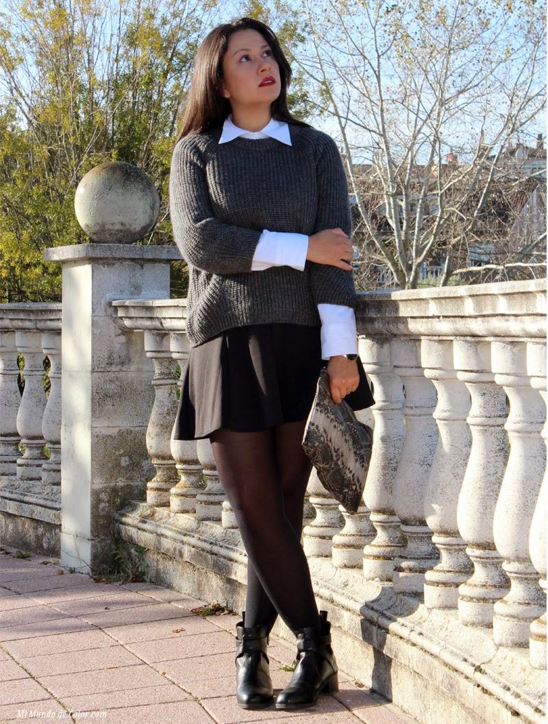 jersey gris zara, falda de vuelo negro