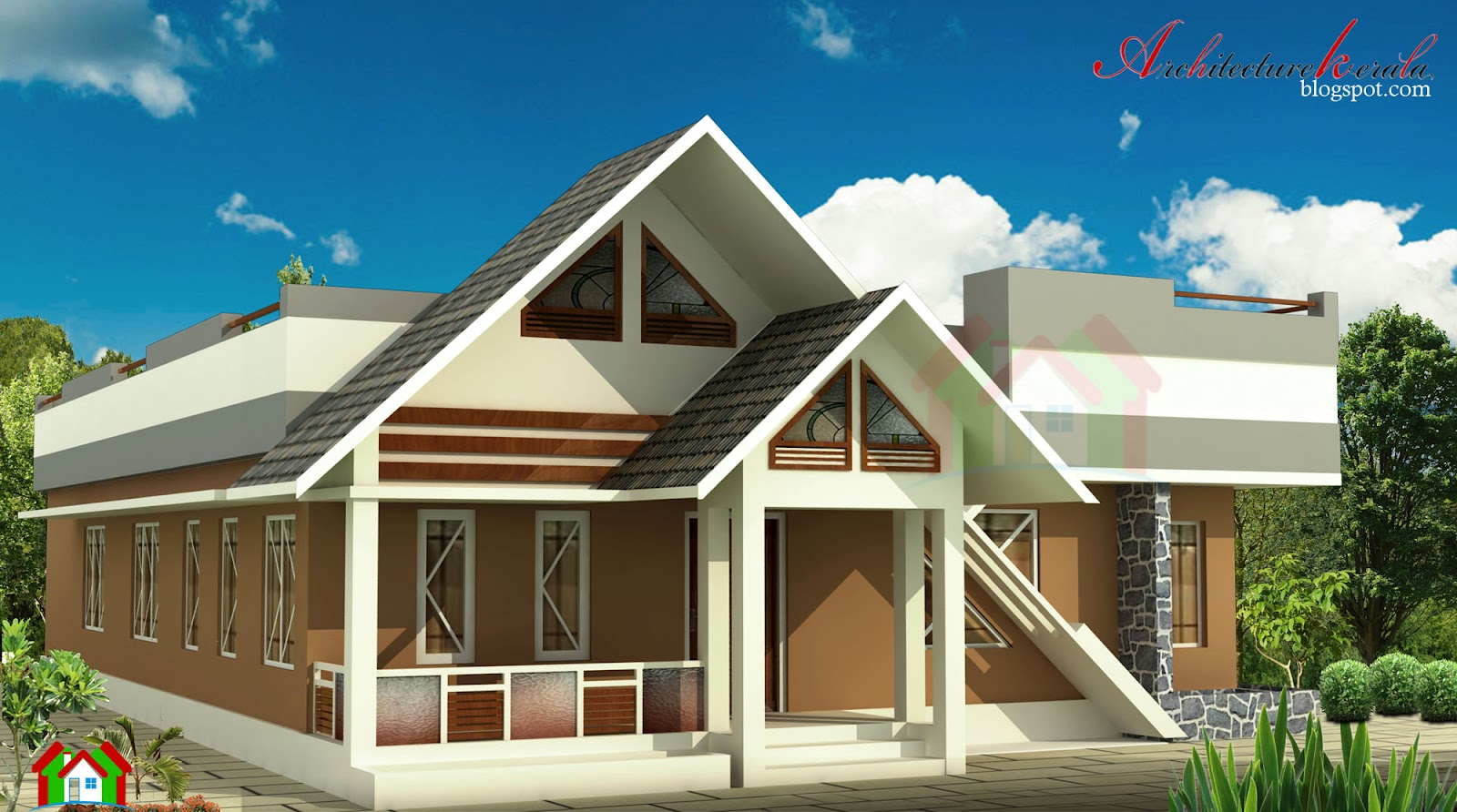 A simple 1000 sq ft kerala house plan architecture kerala for Kerala house plans 1000 square feet