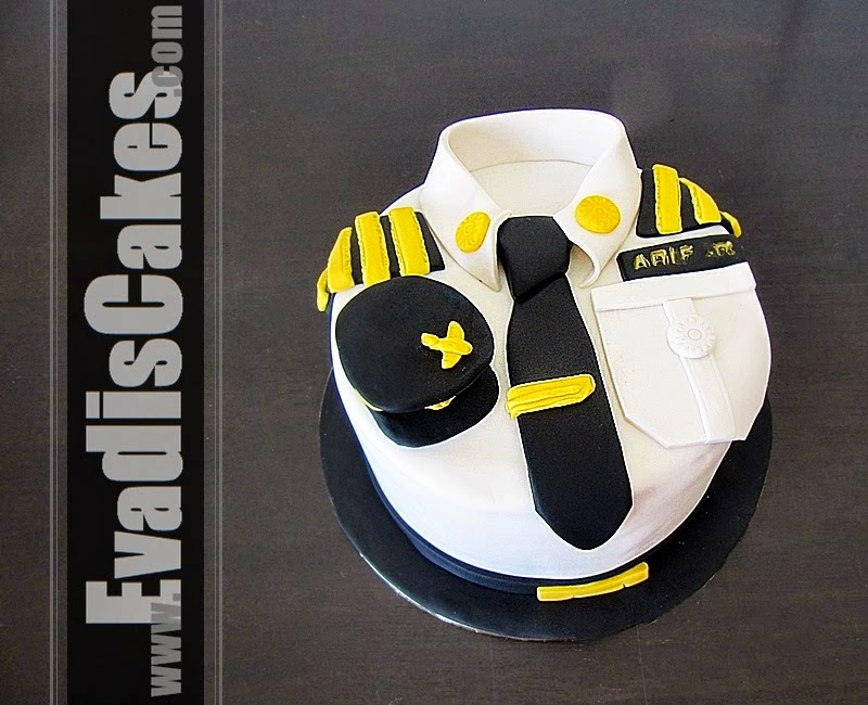 Pilot uniform cake from top view