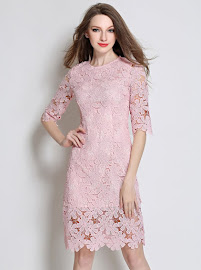 New 2016 Three Colors Half Sleeve Round Collar Floral Lace OL Dress