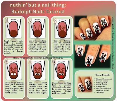 rudolph reindeer nail art tutorial
