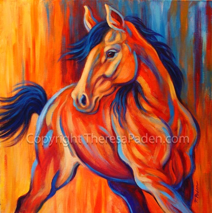 California artwork abstract horse painting sunset frolic for 24x24 casa moderna