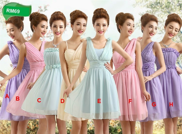 Four-colors Simple Midi Chiffon Bridesmaids Dress