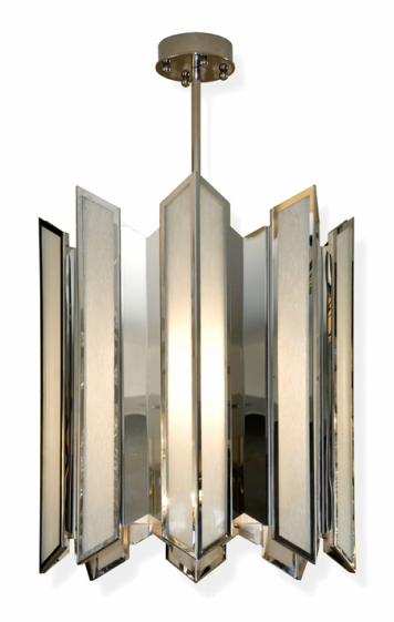 Art deco pendant frosted textured glass with polished stainless steel