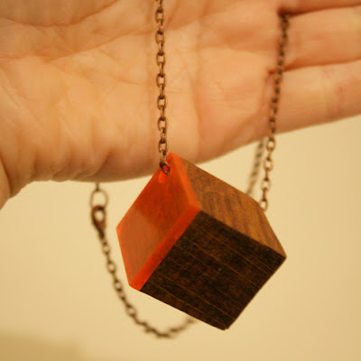 folksy handmade cube wood necklace