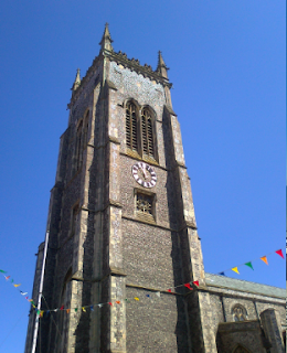 Sunny day, blue sky, Cromer church - Camping in Cromer