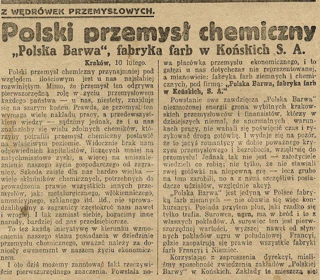 Artykuł Polska Barwa… w: Ilustrowanym Kuryerze Codziennym, Kraków 11.02.1924, nr 41. Dokument w zbiorach KW.