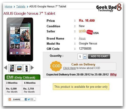 Get your Google Nexus 7 in India Right Now at GrabMore