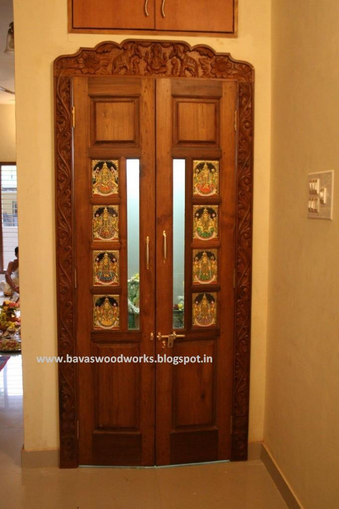 Bavas wood works pooja room door frame and door designs for Simple wooden front door designs