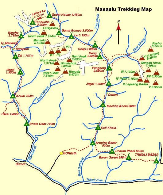 Round Manasalu Trekking map