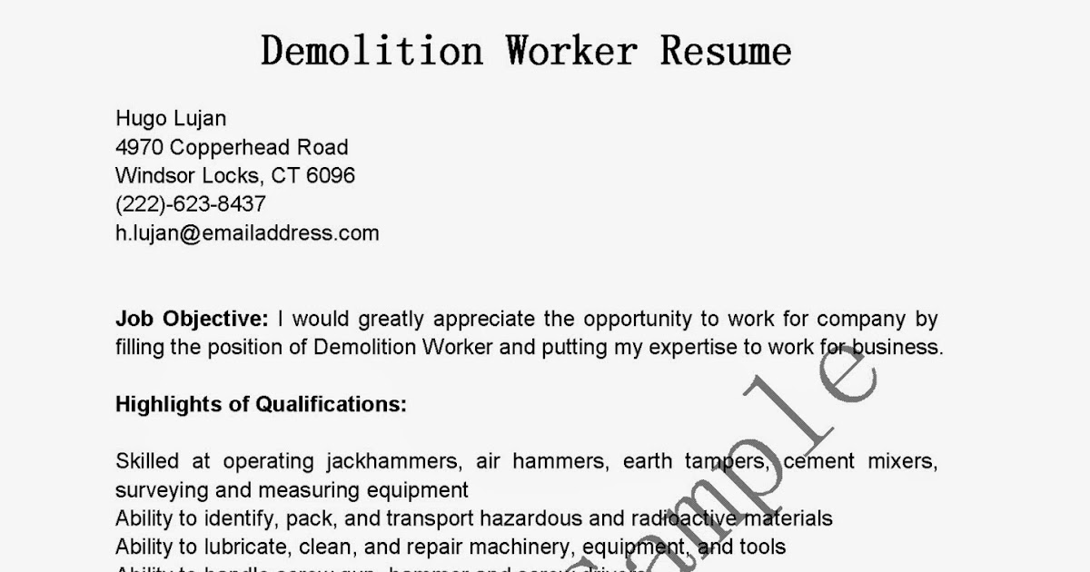 resume samples  demolition worker resume sample