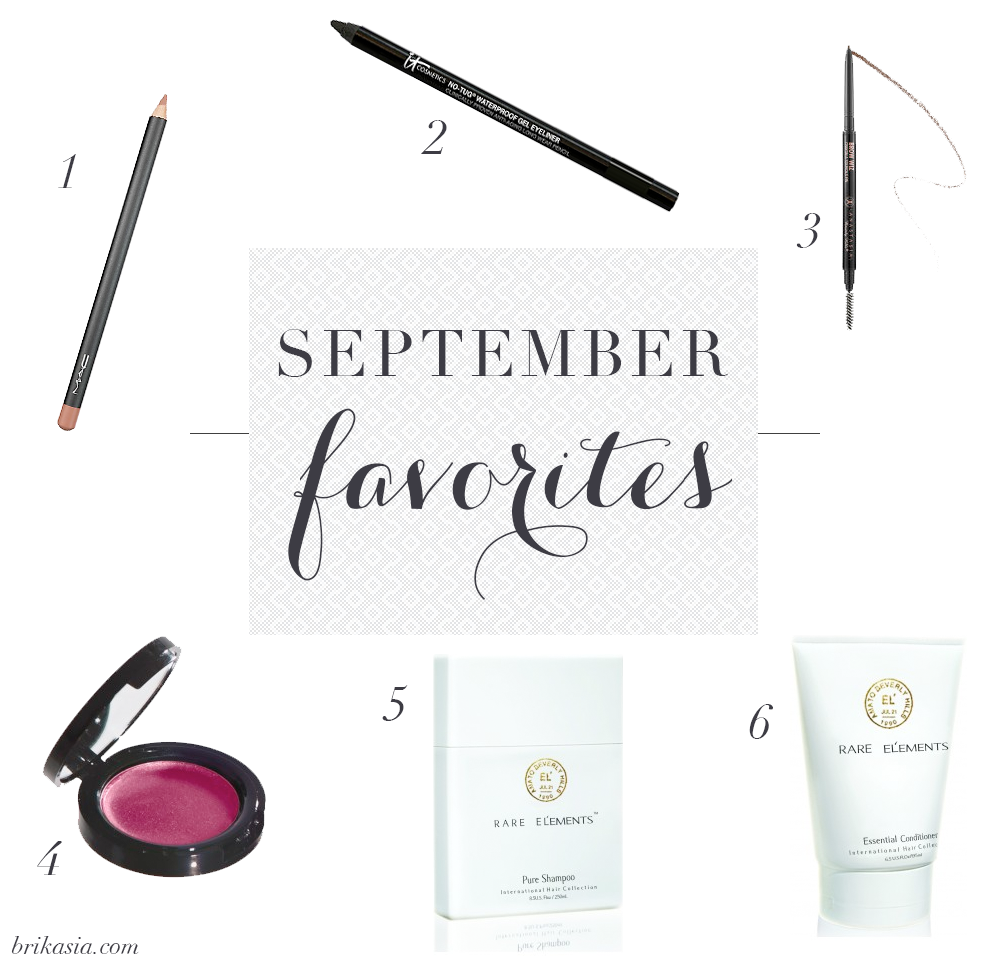 mac soar lip liner, it cosmetics no tug waterproof gel eyeliner, anastasia beverly hills brow wiz, la bella figura just jenna radiant creme blush review, rare elements pure shampoo, rare el'ements essential conditioner, september 2014 beauty favorites