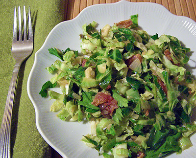 Lemon Shredded Brussels Sprouts with Bacon