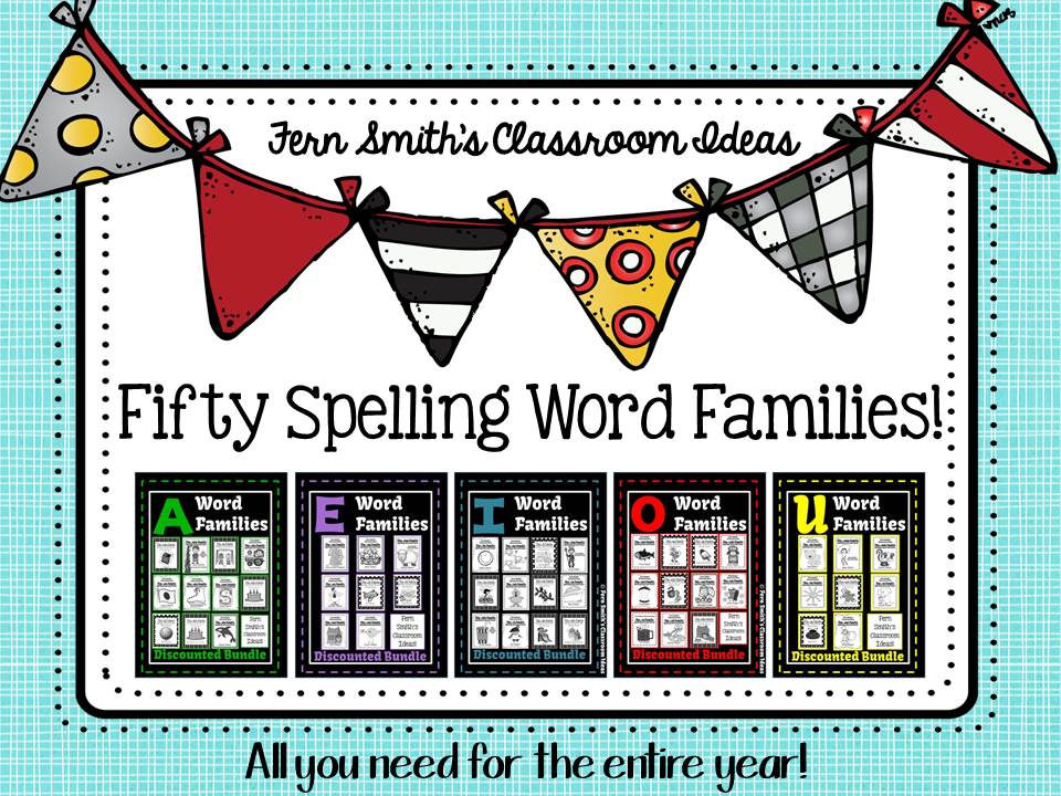 A Year's Worth of Spelling Word Families for Kindergarten to Second Grade at Fern Smith's Classroom Ideas TeachersPayTeachers Store. TPT