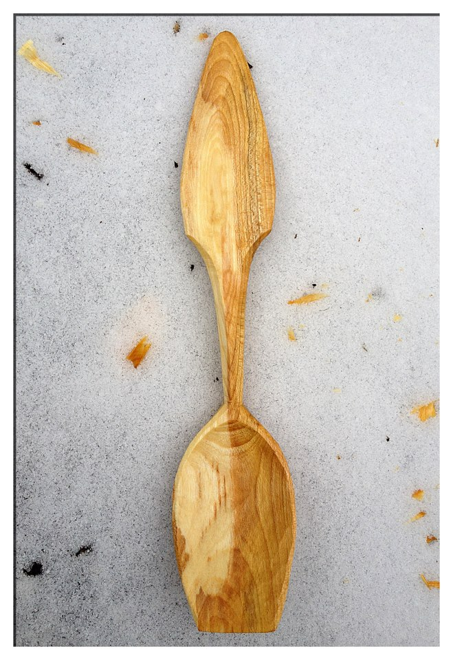Simon hill green wood carving cherry eating spoon