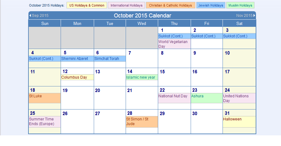 com October Calendar October 2015 Calendar html October 2015 Holidays
