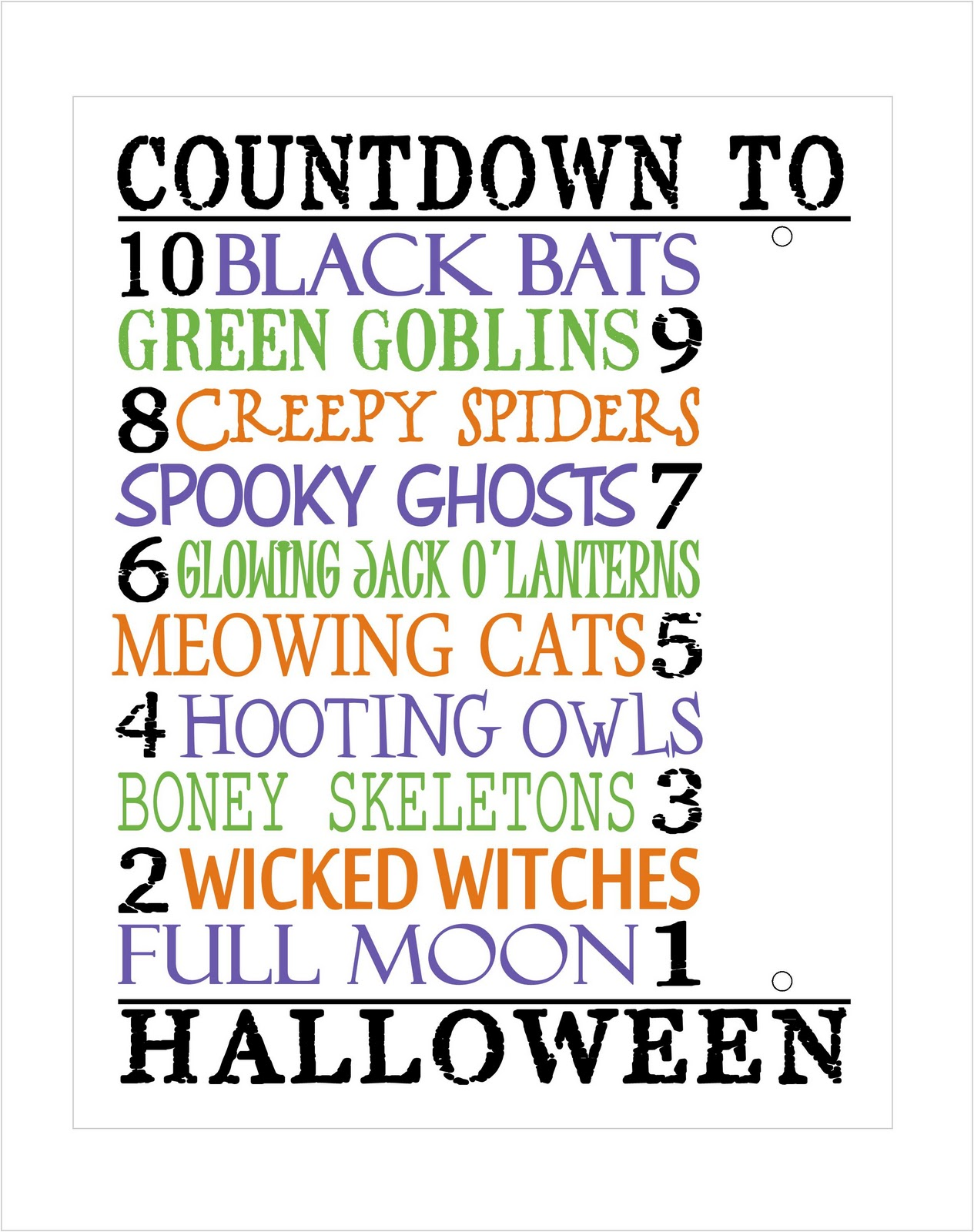 Today's Fabulous Finds: Printable Halloween Countdown