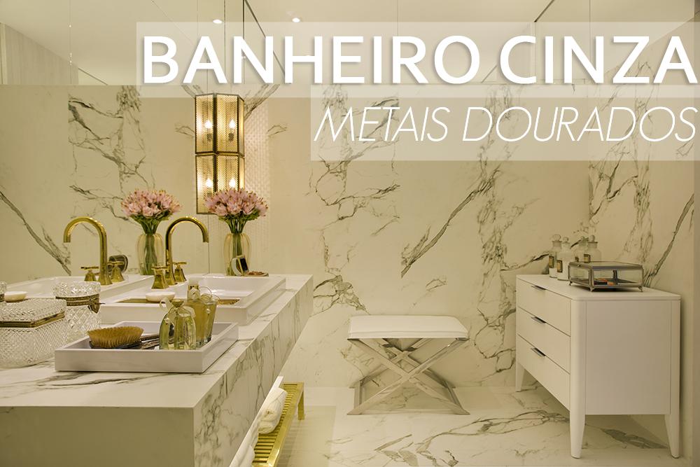 Banheiro cinza com metais dourados maravilhoso! Confira todos os detalhes!   -> Pia Banheiro Cinza