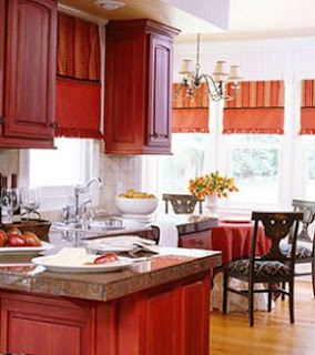 red cabinets for kitchen