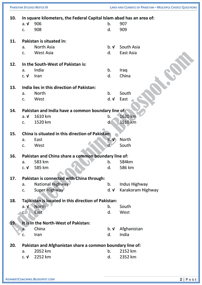 land-and-climate-of-pakistan-mcqs-pakistan-studies-ix